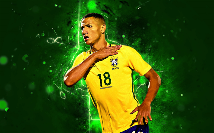 Download Wallpapers Richarlison Goal Brazil National Team Football Stars Richarlison De Andrade Soccer Neon Lights Brazilian Football Team Besthqwallpape Football Team Football Soccer