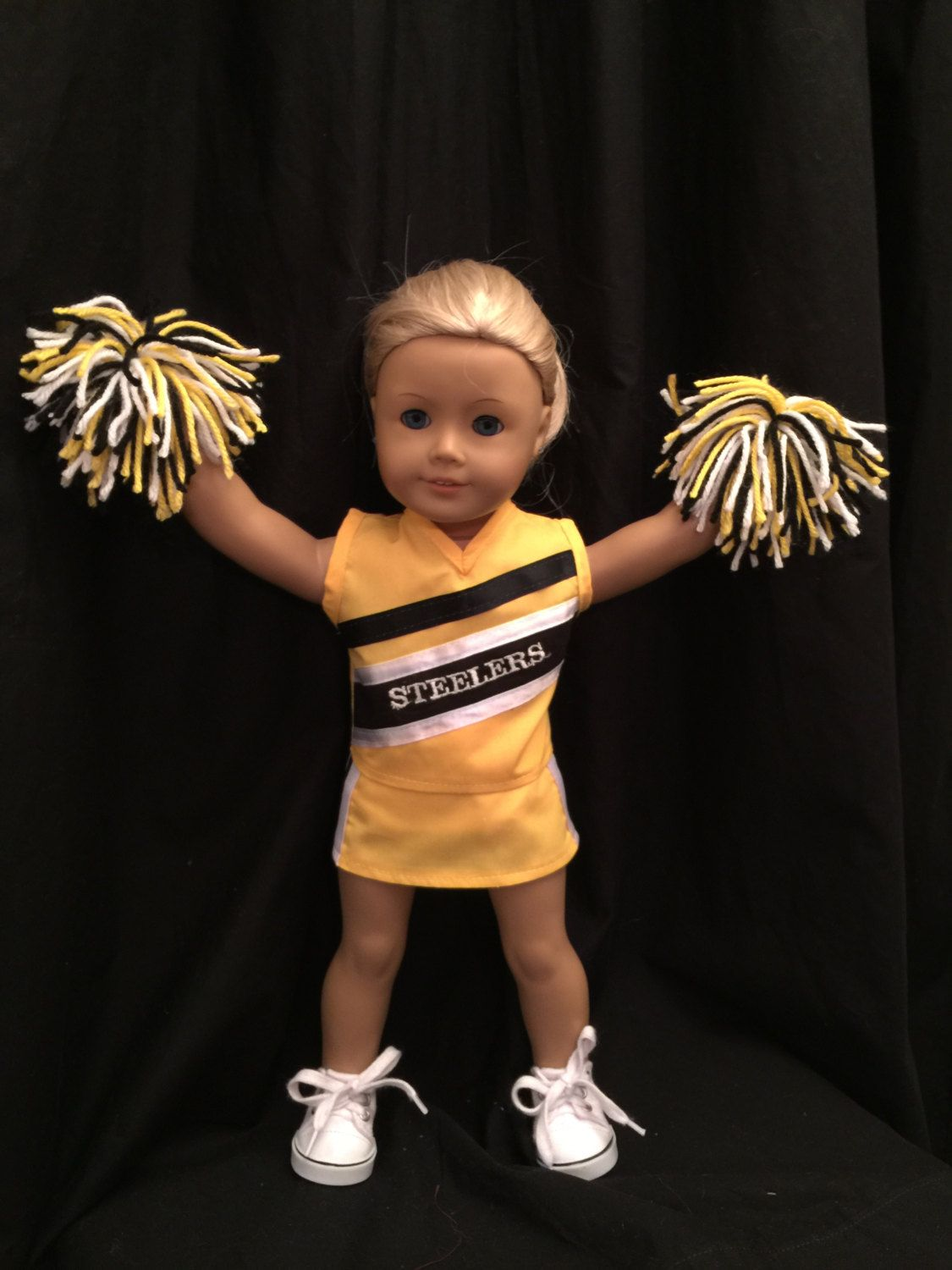 Homemade 18 Inch Soft Body Steelers Cheerleading Uniform For Dolls Like American Girl Made From Jelly Bean Soup Pattern s