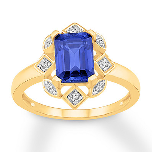 Lab Created Sapphire Ring 1 10 Ct Tw Diamonds 10k Yellow Gold Lab Created Diamond Rings Sapphire Ring Expensive Diamond Rings