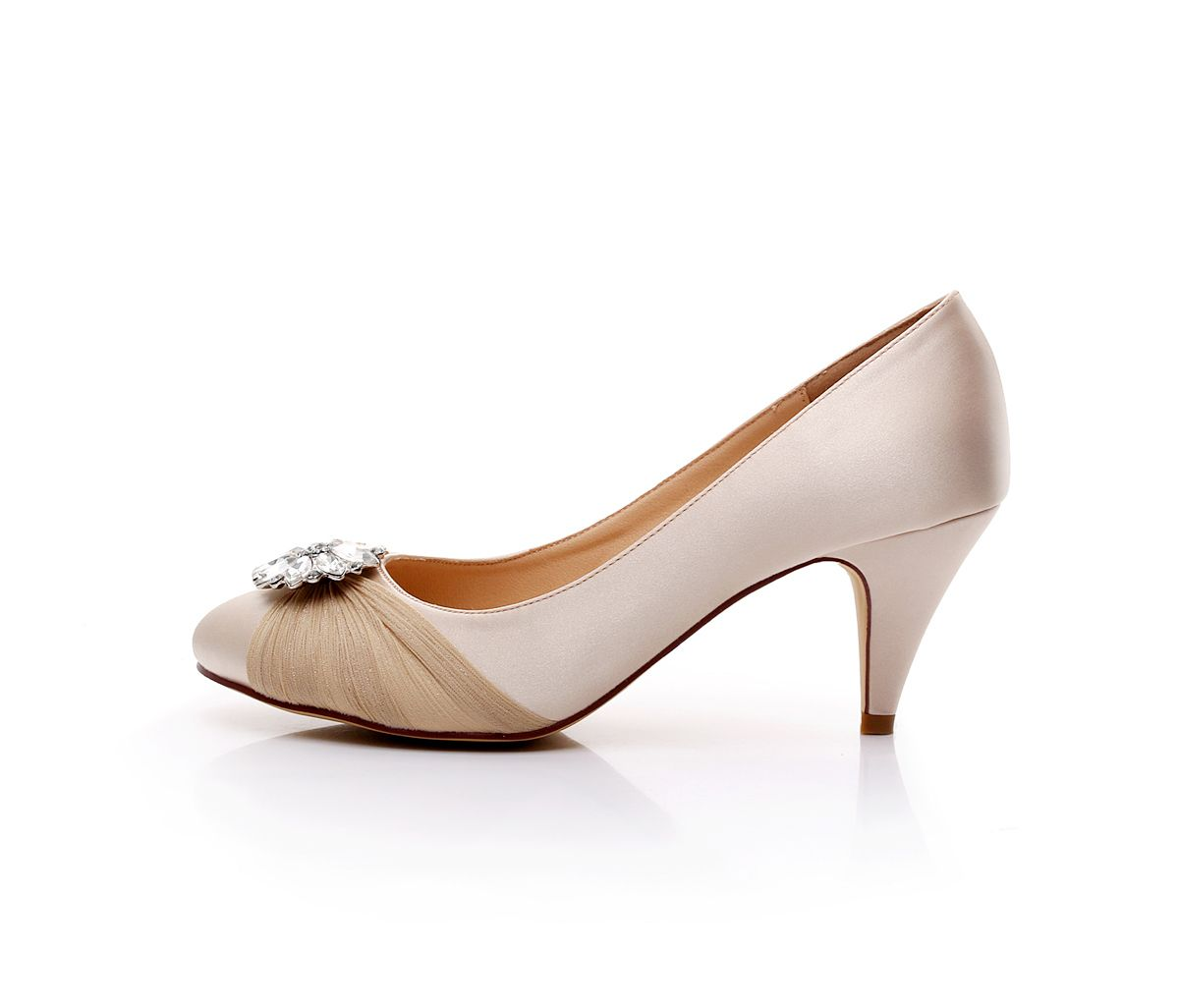 satin bridal shoes rhinestone wedding shoes low heel dress shoes ...