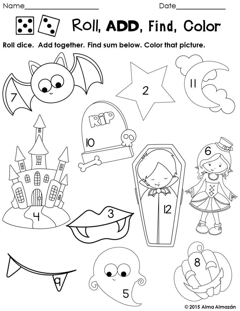 Fall Math Pack Centers and NO PREP Work Pages | Math, Halloween math ...