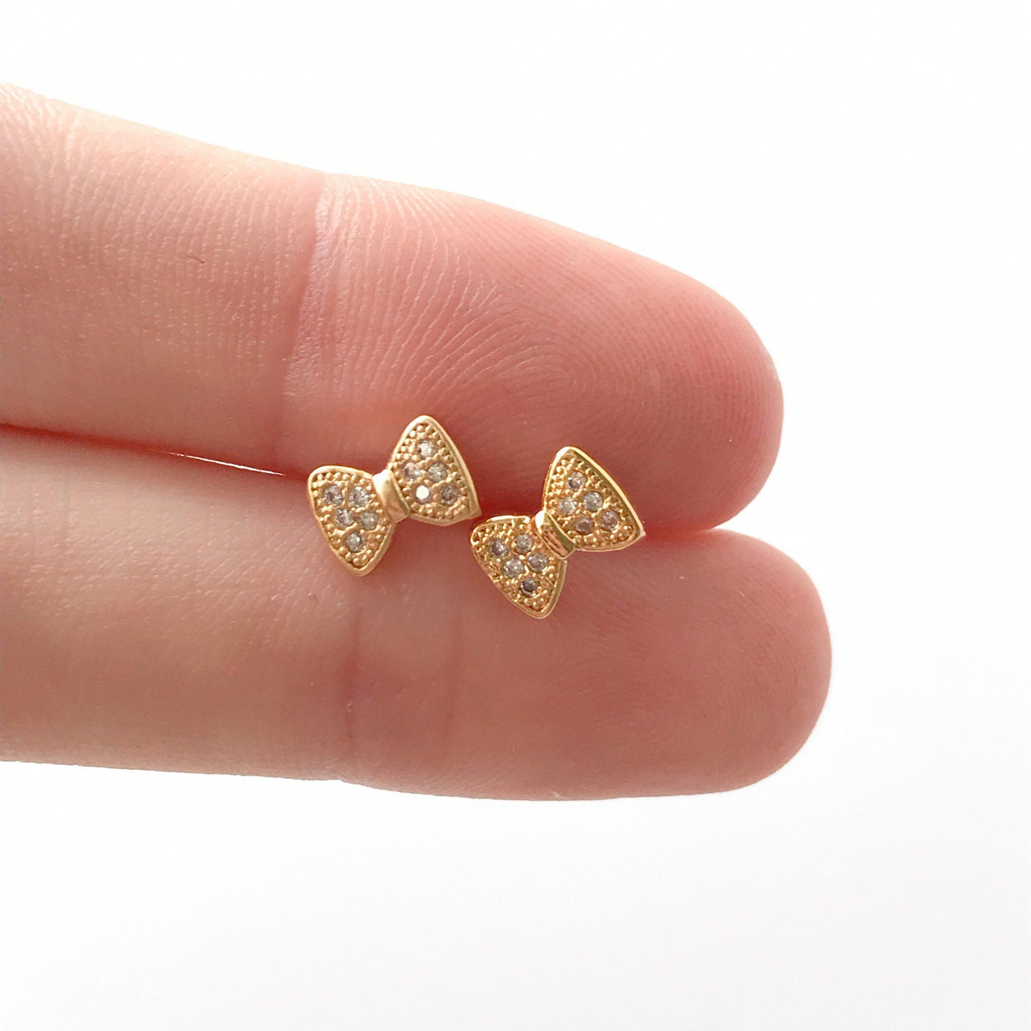 Jewel Tie Solid 14K Yellow Gold Fancy Heart Stud Earrings 6 X 9mm
