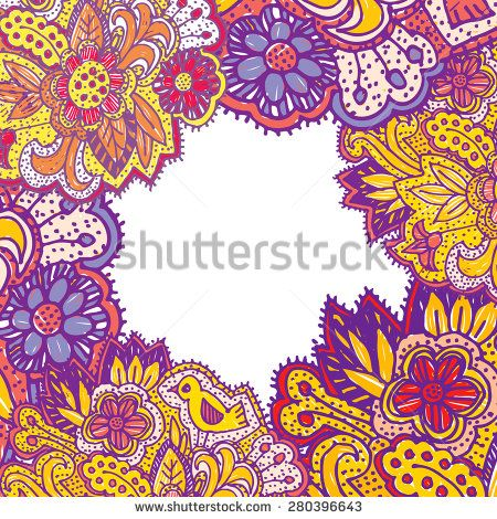Doodle with flowers and birds. square frame for text purple yellow pink bright ornament. Vector illustration