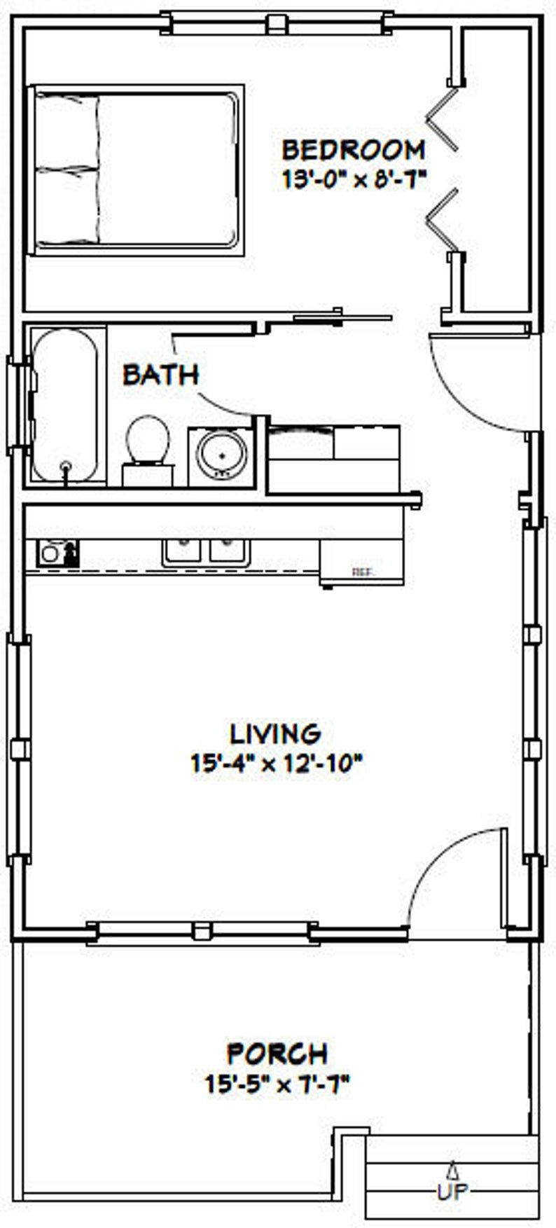 16x28 House 1 Bedroom 1 Bath 447 Sq Ft Pdf Floor Plan Etsy In 2020 Tiny House Floor Plans House Plans Cabin Floor Plans