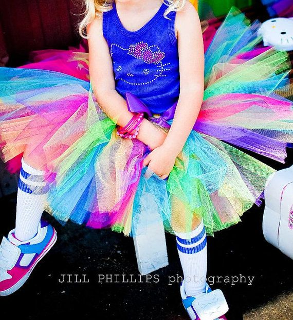 Rainbow Delight Hello Kitty Tutu set  includes by KirrasBoutique, $36.95