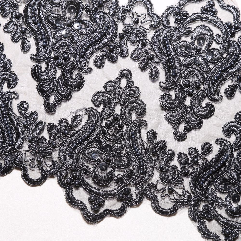 Bridal Wedding Black Embroidered Lace Beaded Pearl Sequin Trim Per 1/2 Yard #Handmade