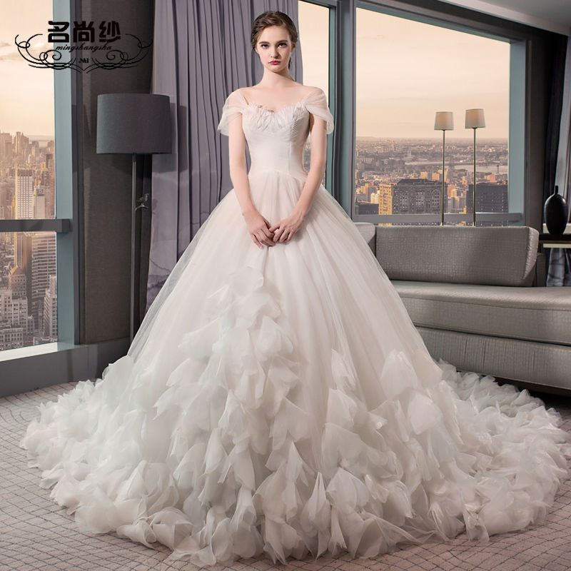 Buy Mssbridal Off Shoulder Feather Detail Wedding Ball Gown With