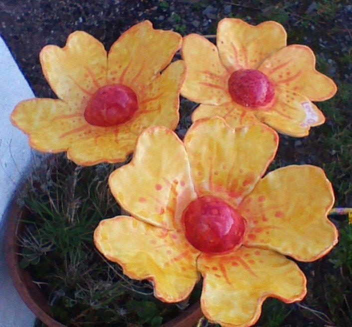 Yellow flower, handmade ceramic flower , flower wall art, flower art ...