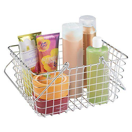 mdesign wire storage organizer basket with handles for bathroom bath towels heath and beauty