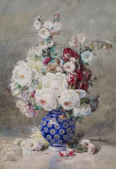 Francois Rivoire Flowers In A Vase 19th Century Still Life 1