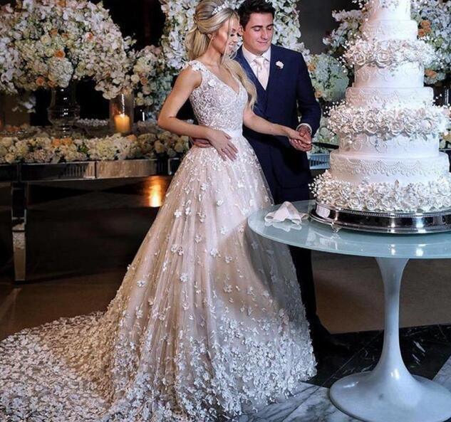 Vintage 2019 Lace Wedding Dresses 3D Floral Appliqued V Neck Wedding Dress Plus Size Bridal Gowns Vestidos Robe De Mariée