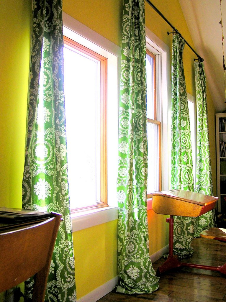 How To Make Curtains With Just A Pair Of Scissors This Is Up My Ally No Sew CurtainsGreen CurtainsLiving Room WindowsLiving
