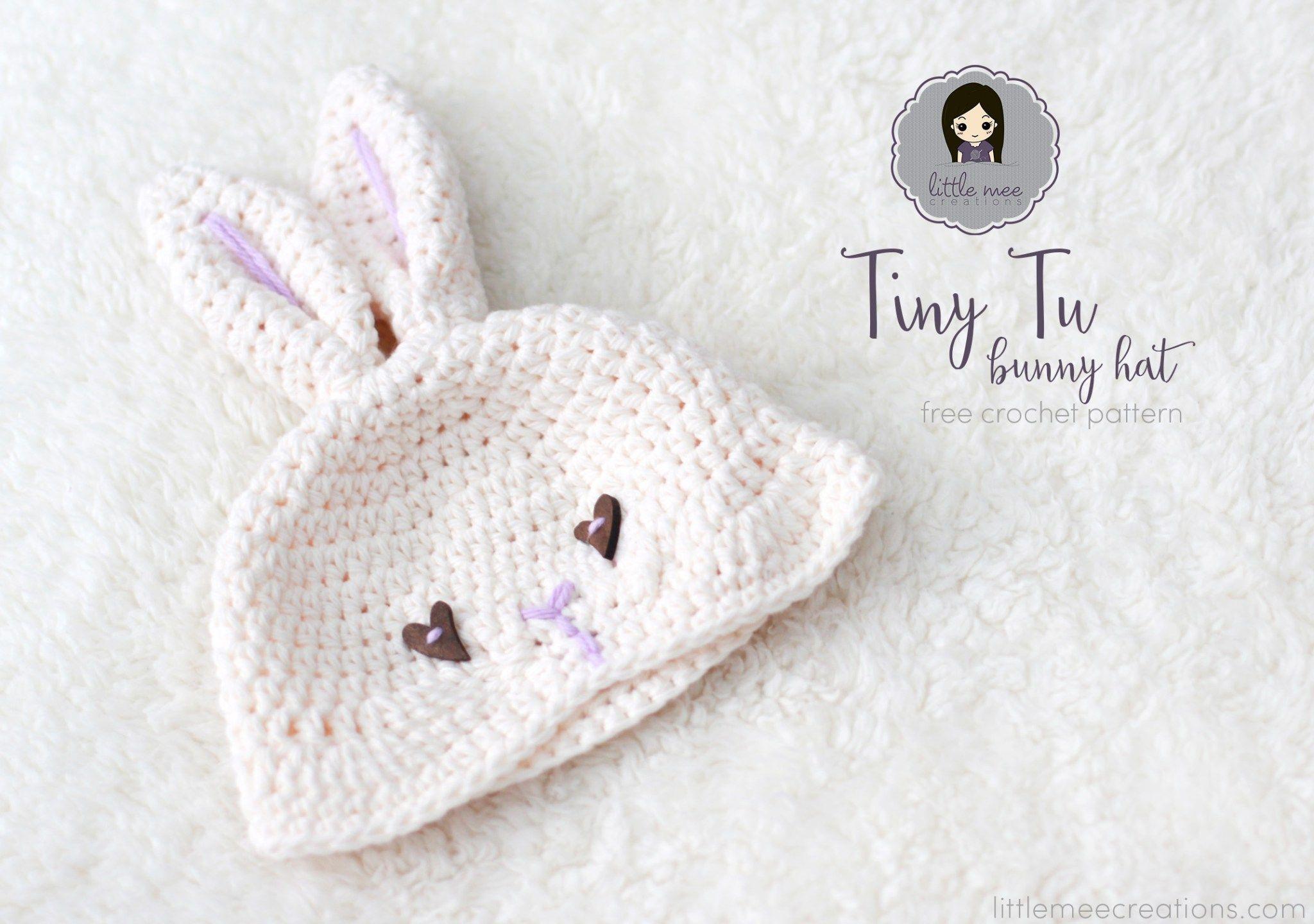 tiny tu bunny hat free crochet pattern by LittleMeeCreations ...