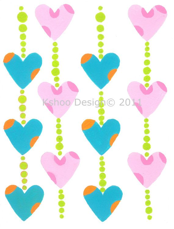On Sale Watercolor gouache print Hearts and Beads by kshoodesign, $20.00