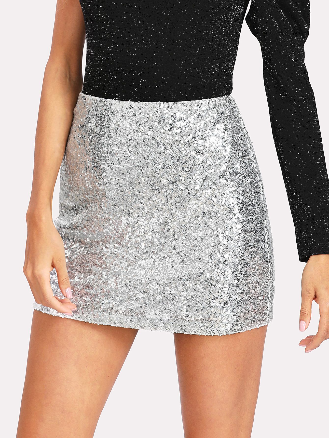 34a1fab31e Online shopping for Metallic Sequin Skirt from a great selection of women's  fashion clothing & more at MakeMeChic.COM.