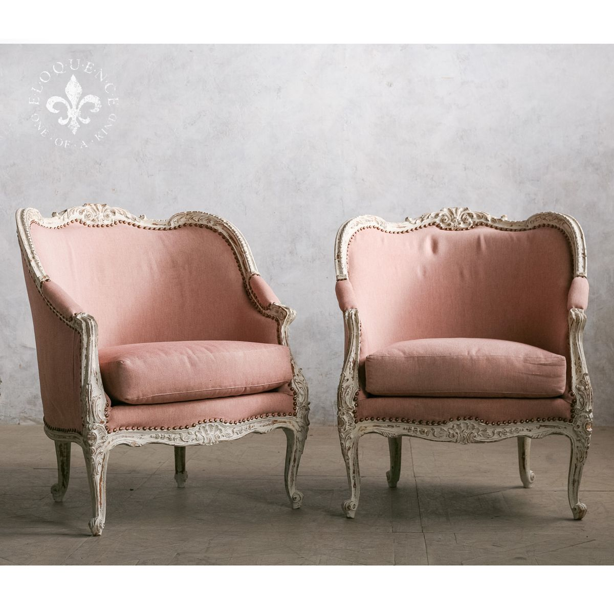Vintage French European Pink Bergere Chairs