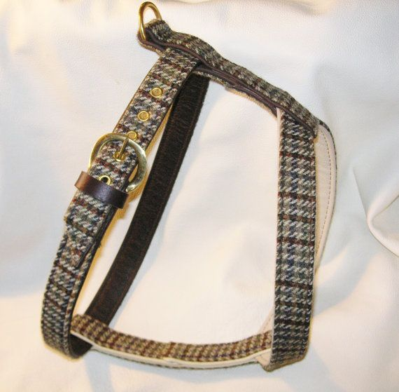 Green With Cream Tweed And Cream And Brown Leather Dog Harness By