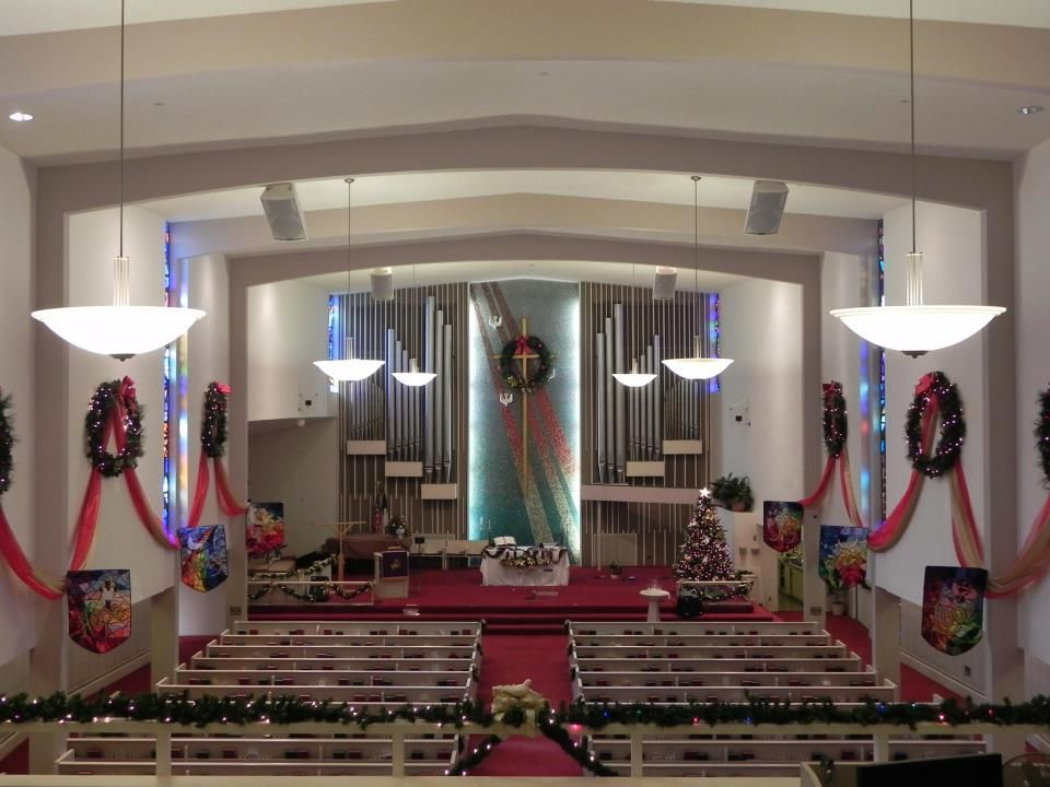 Sanctuary Decorated For Advent Christmas Church Christmas Decorations Church Decor Christmas Church