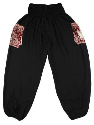 Rombo Black and Red Elephant Print Pants by The Elephant Pants