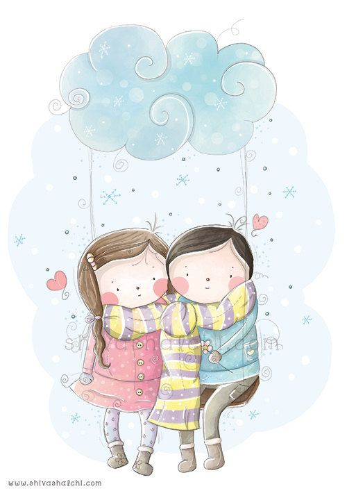 Children Illustration - Cute love, Couple In Love, Boy And Girl