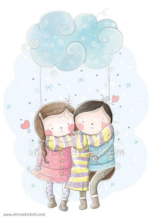Children illustration cute love couple in love boy and girl a3 children illustration cute love couple in love boy and girl a3 thecheapjerseys Gallery