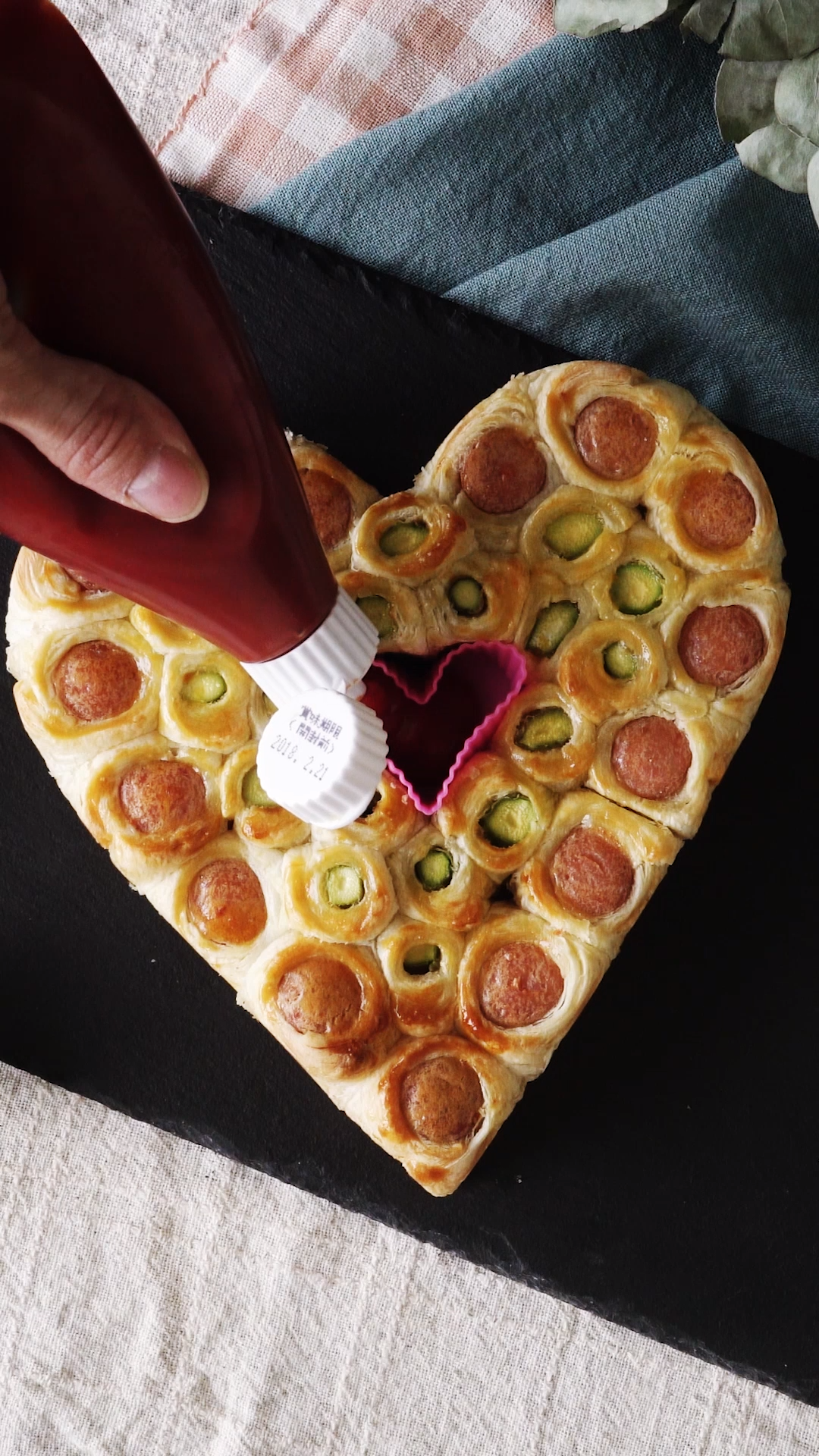 Heart-Shaped Sausage Asparagus Pie