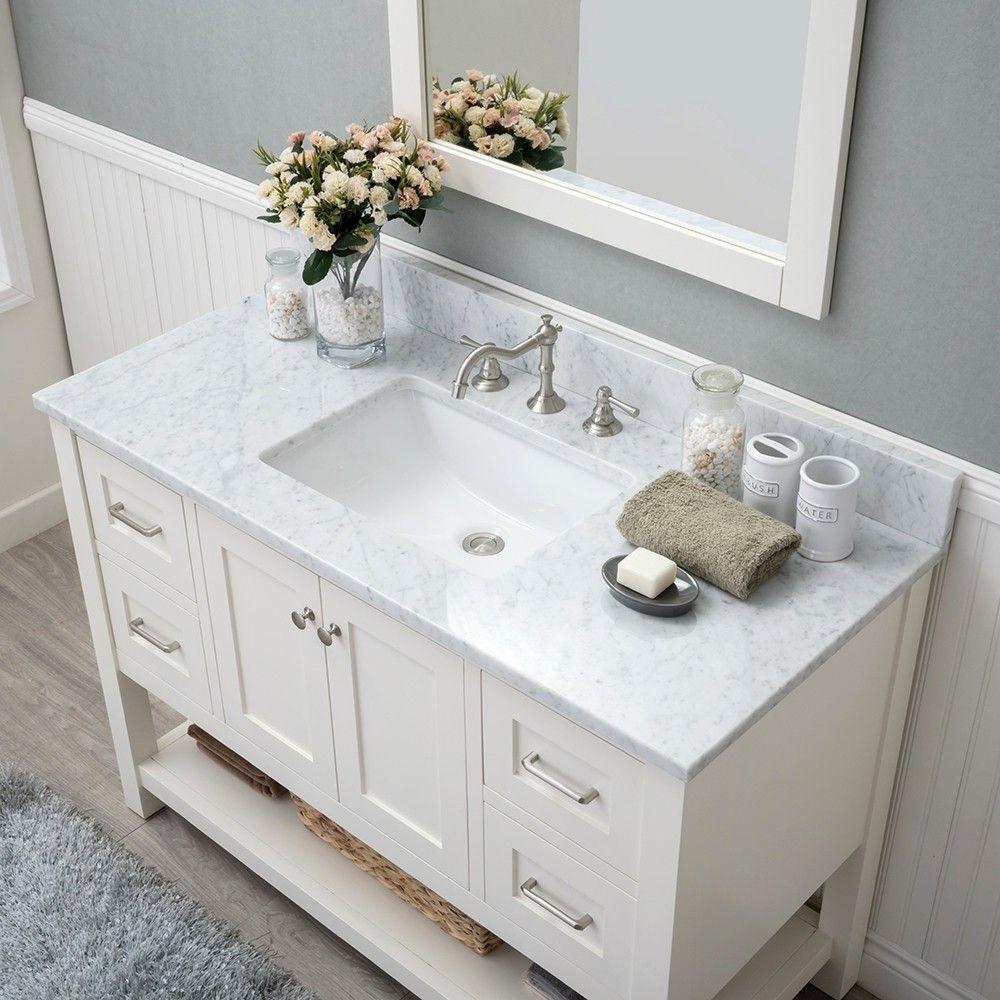 White Shaker 48 Bathroom Vanity 2 Drawers 2 Sinks Open Shelf W