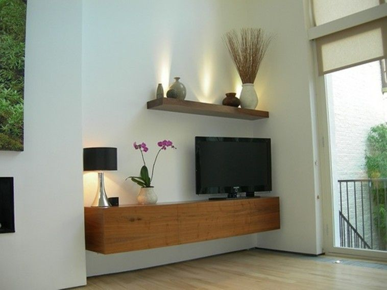 Rustic Brown Varnished Oak Wood Flaoting Cabinet Storage As TV Stand Under  Small Wall Shelf Aded Round Black Shade Table Lamp
