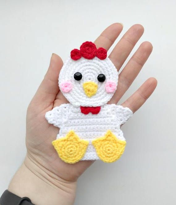 PATTERN Chicken Applique Crochet Pattern PDF Farm Animal Pattern Instant Download Farm Bird Easter Chick Crochet Applique Motif Ornament ENG #dolls