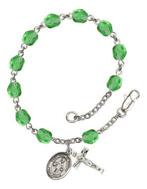 St. Nino de Atocha Silver-Plated Rosary Bracelet with 6mm Peridot Fire Polished beads