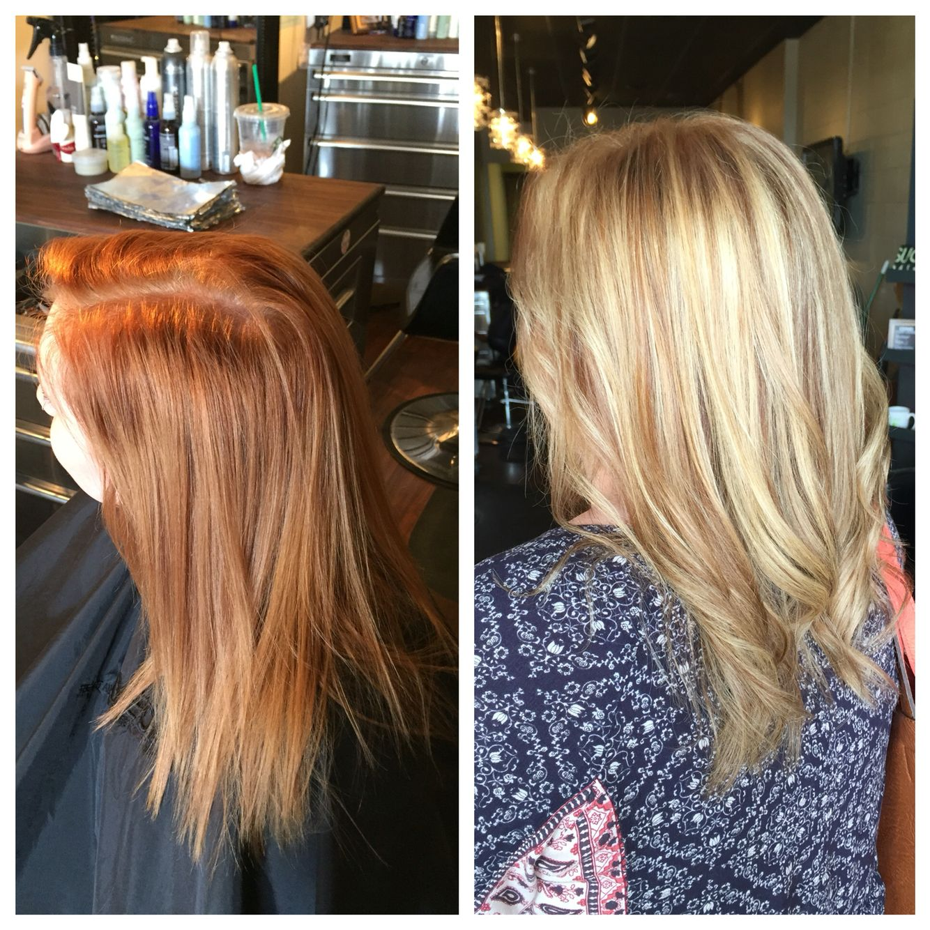 From Red To Blonde In One Process Red Blonde Hair Red To Blonde Hair Lift
