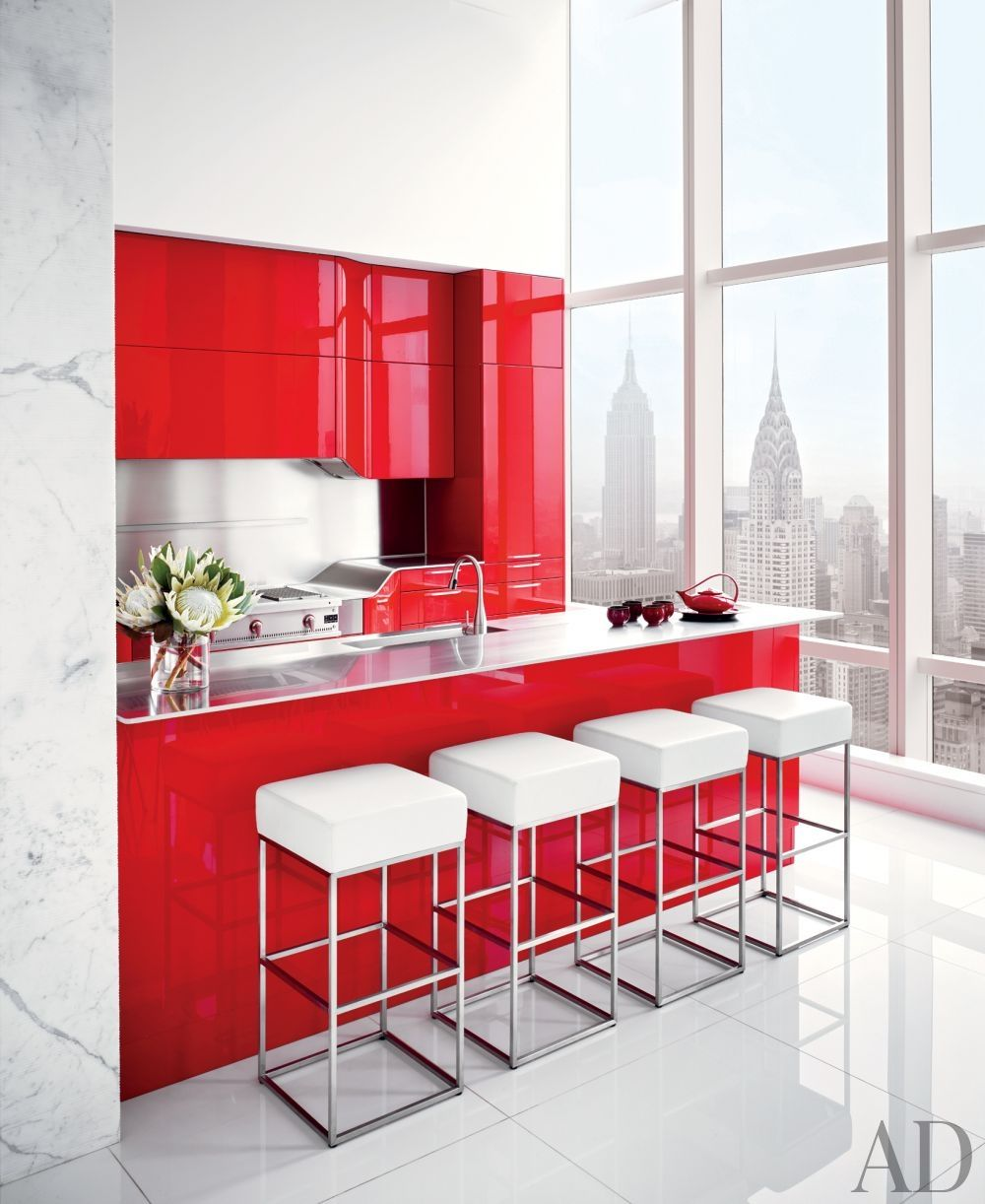 Contemporary Kitchen By Oda Architecture In A New York Residence The Kitchen S Red Lacquer Cabinetry Contemporary Kitchen Kitchen Design Small Kitchen Colors