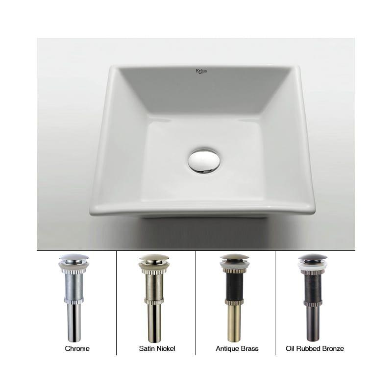 "Kraus KCV-125-ORB Oil Rubbed Bronze 16"" Ceramic Vessel Bathroom Sink - Includes Pop-Up Drain"