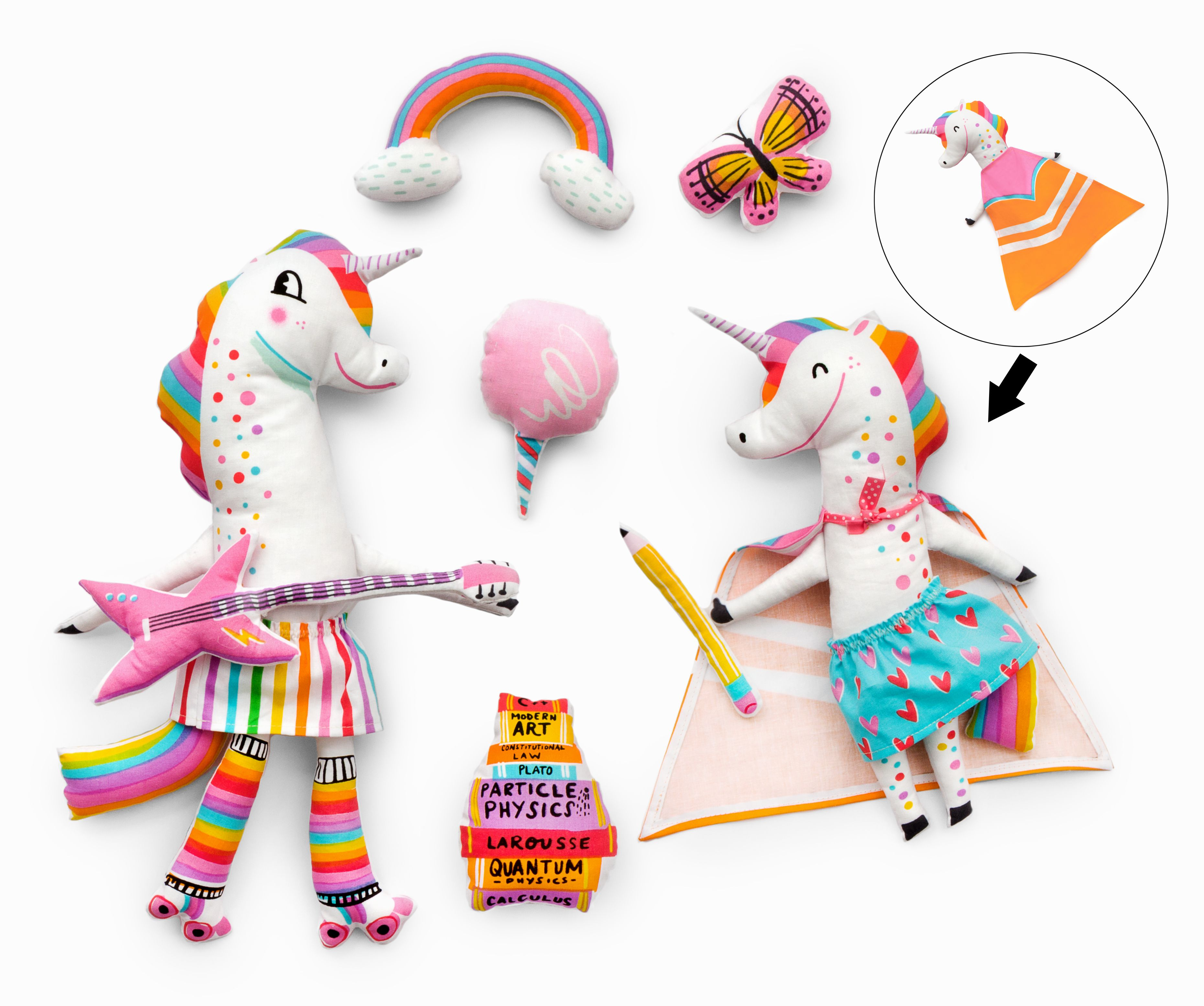 kit to craft your own fabric friend Flamingo or Unicorn Sew your own Mermaid
