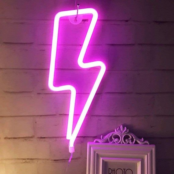 Neon Lighting Pink Sign Led Lightning Shaped Night Light Wall Decor Light Operated By Usb Battery Wi Neon Sign Bedroom Neon Bedroom Neon Signs