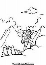 Coloring Page Of A Hiker Hiking At The Swiss Alps