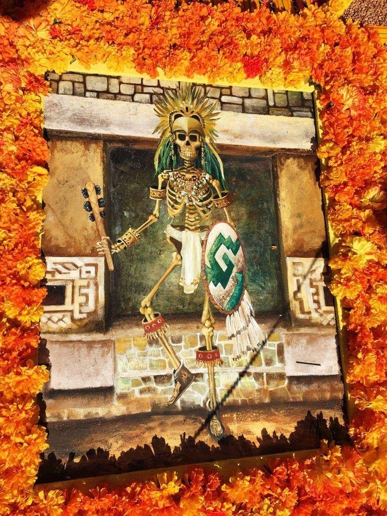Mexican Marigolds frame Dia De Los Muertos altar art | Day of the ...