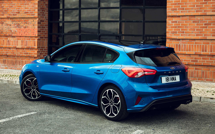 Download Wallpapers Ford Focus 2018 4k Exterior Rear View New Blue Focus Hatchback Ford With Images Ford Focus Ford Focus St