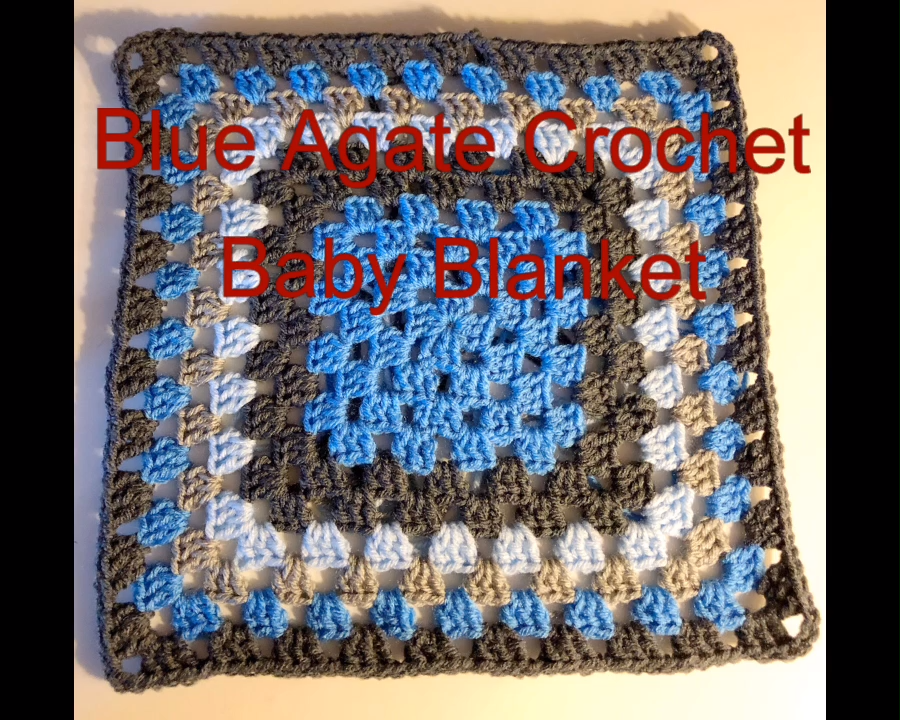 Photo of Granny Square Blue Agate Crochet Blanket