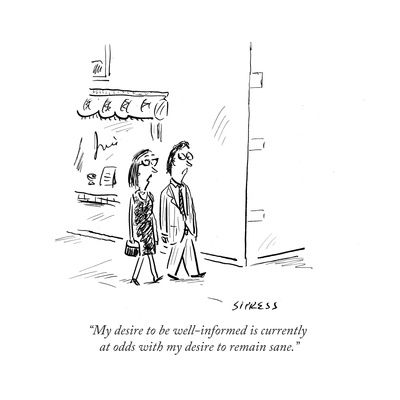 New Yorker Trying On Shoes Cartoon