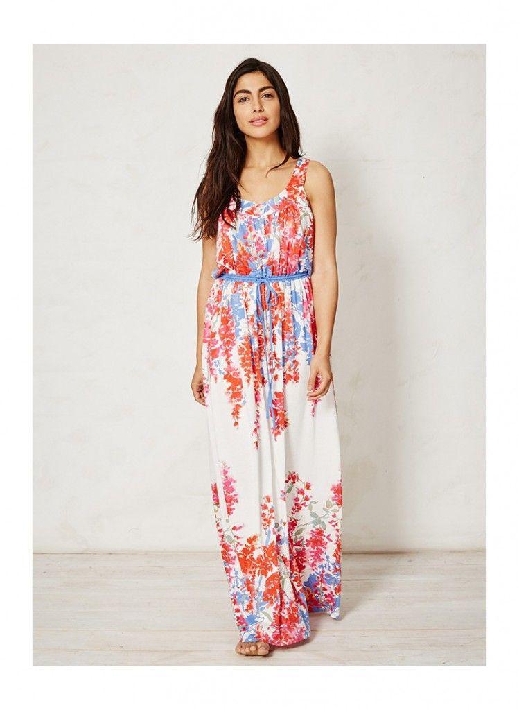 7245d975f34 FLORINDA dámské letní maxi šaty z bambusu a biobavlny - květinový potisk -  fair trade oblečení z biobavlny
