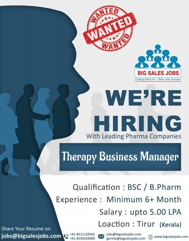 Sales opening for Therapy Business Manager Qualification: B.Sc, MBA ...