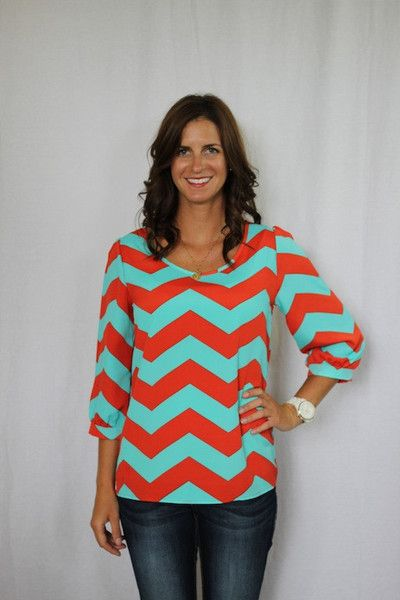 AQUA AND RED CHEVRON TOP  $34.99 - Out of stock