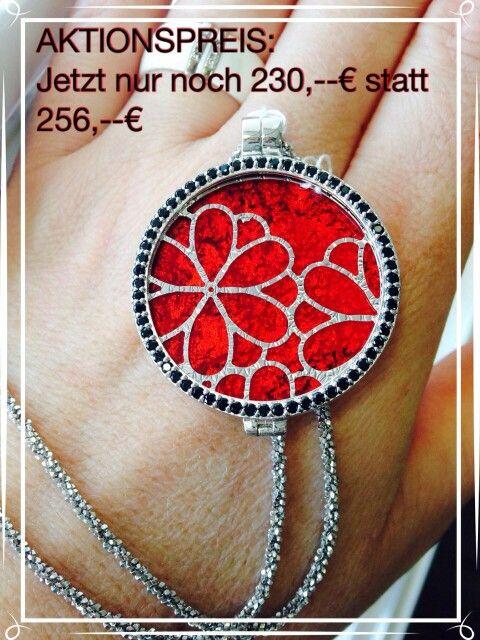 My I Menso Medaillon mit roter Murano Glasplatte + Blumengitter