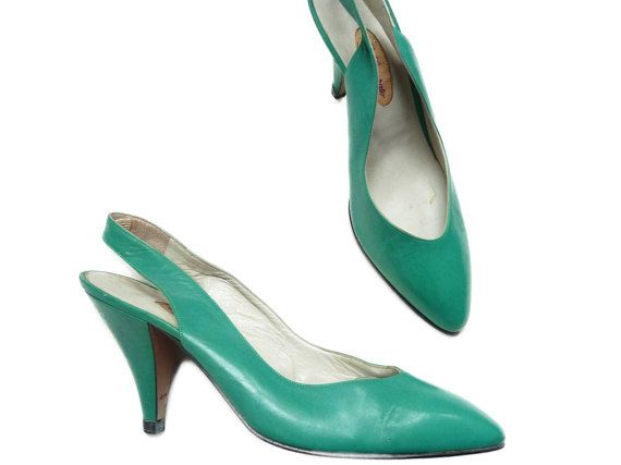 Vintage shoes green pumps 7 slingback chaussures tiffany