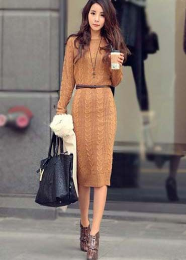 819eb4518 Braided Midi Sweater Dress