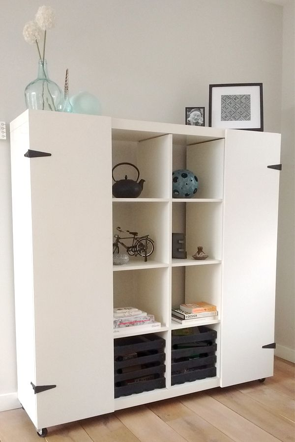 ikea hack expedit to hide the homeschool things for a