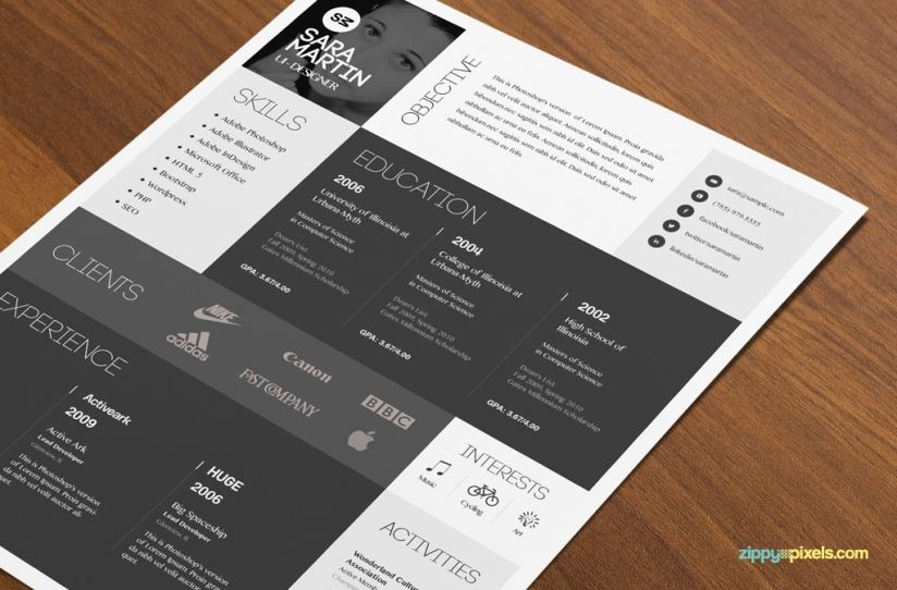 Download Psd Resume Template  Resume Cover Letter Template Cover