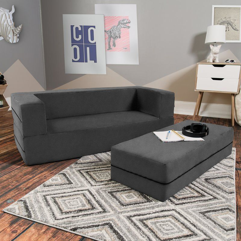 Zoomie Kids Duncan Convertible Sleeper Sofa And Ottoman Wayfair