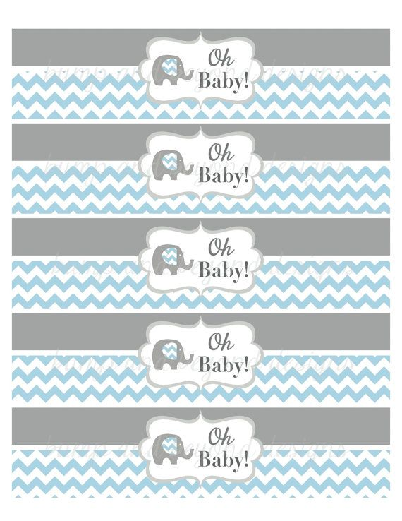 Water Bottle Labels Elephant Baby Shower Favor Labels By